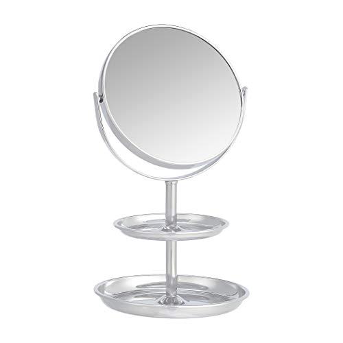 Amazon Basics - Specchio cosmetico con doppio ripiano, ingrandimento 1x/5x, cromato