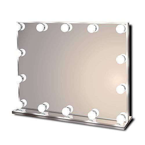 Hollywood Specchio per trucco illuminato vanitoso Hollywoodiano con luci a LED brillanti, Specchio per trucco leggero senza telaio con 14 lampadine dimmerabili, multiple modalità di colore, grande