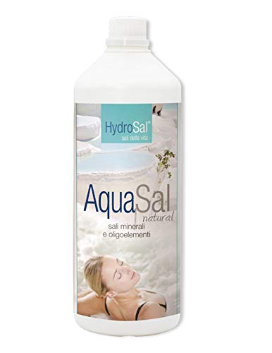 HYDROSAL Aqua TERMALE con Magnesio, Potassio e Iodio per Piscina e Idromassaggio (Jacuzzi,Teuco,Dimhora,Index,Bestway, ECC.) Aqua Sal 1Lt. Natural -Spedizione IMMEDIATA