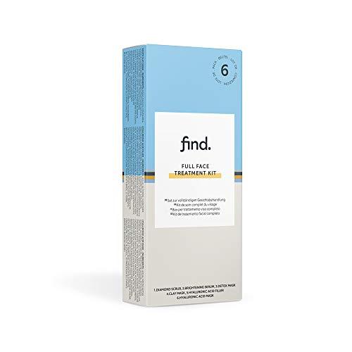 FIND - Confezione per trattamento completo del viso (esfoliante ai diamanti, siero illuminante, maschera detox, maschera all'argilla, maschera/filler con acido ialuronico)