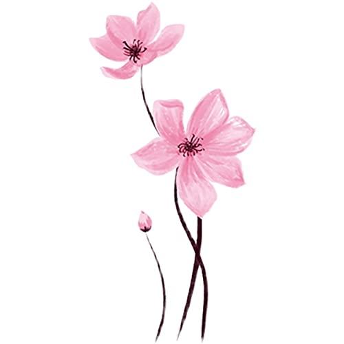 YZFCL - Adesivi per tatuaggio con fiori di ciliegio, impermeabili, a prova di sudore, per donne e clavicola e fiori di pesca, piccoli tatuaggi freschi su feet30 pezzi