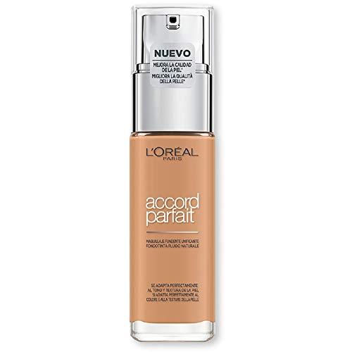 L'Oréal Paris Accord Parfait, Fondotinta Liquido, Pelli da Secche a Normali, Formula arricchita con acido ialuronico, Colore Ambre doré (7.D), 30 ml