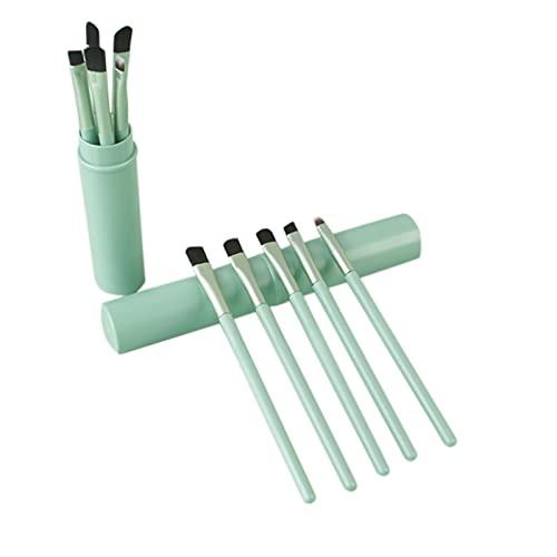 TouGod Kit Pennelli Make Up Professional 5Pcs Set di Pennelli per Trucco Pennello per il Trucco ProfessionaleSet Di Pennelli Per Ombretti Sintetici Premium (Green)