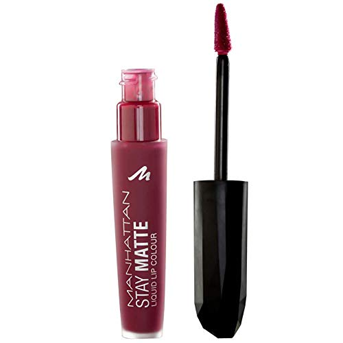 Manhattan Stay Matte Liquid Lip Colour, colore 600Statue Of Burgundy, Rosso scuro, 5.5 ML