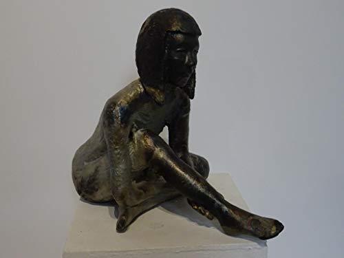 Scultura statuetta ragazza smalto raku opaco. Aurora opera d'arte Michele Rigon Vicenza