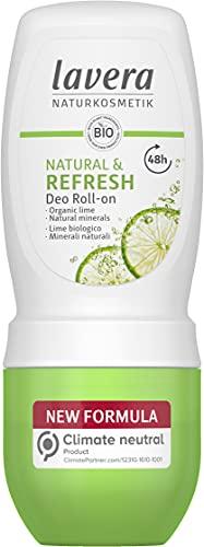 lavera Deo Roll-On Natural & Refresh - 48h di potere deodorante dalla natura - lime biologico - minerali biologico - vegano - Cosmesi naturale - senza sali di alluminio - 50 ml