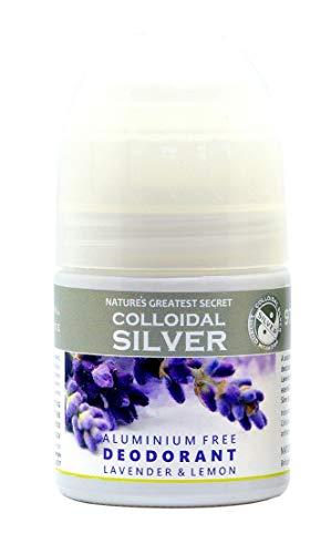 Nature' S Greatest Secret Premium qualità Deodorante in argento colloidale, oli eterici Lavanda, privo di alluminio, antibatterico, Roller Ball, 50ML