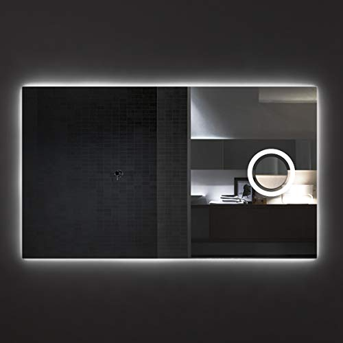 styleglass Specchio Bagno Retroilluminato Rio 120x70cm, con Specchio ingranditore Retroilluminato, Specchio Made in Italy, Telaio in PVC, Kit Fissaggio Murale Incluso, Grado di Protezione IP65