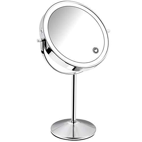Micacorn Specchio Trucco con Luci, Specchio Ingrandito 1X7X Ricaricabile USB Bifacciale Specchio per Il Trucco Rotazione di 360 Gradi Specchio da Tavolo con Luminosità del Touch Screen Regolabile