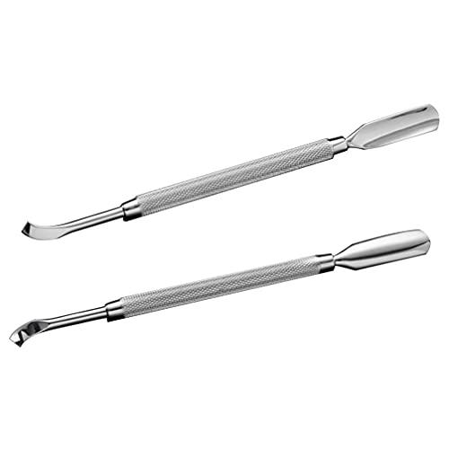 Lurrose - Spingicuticole in acciaio INOX a doppia testa, per manicure, 2 pezzi