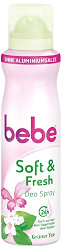 Bebe Soft & Fresh Deo Spray Tè Verde/sanftes Deo senza alluminio, con fresco profumo di tè verde–24H Protezione affidabile corpo geruechen/senza Macchie/150ML