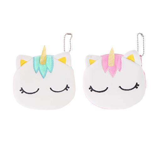 2 pezzi mini cartone animato peluche unicorno cerniera tasca portamonete tasca bambini svegli piccoli soft change portamonete portamonete organizer per bambini incidenti (verde e rosa)