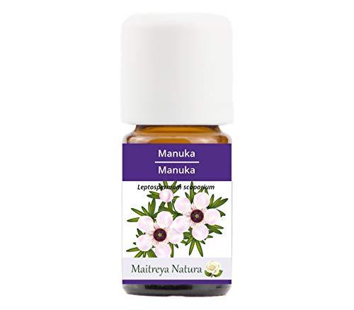 Maitreya Natura Olio Essenziale biologico MANUKA, 100% puro e naturale, 5ml - aromaterapia, diffusore, massaggio, cosmetica - qualità controllata e certificata, vegan