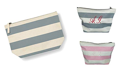 Pochette Beauty Case Borsa Multiuso Donna Personalizzabile con Ricamo del Nome o Iniziale Fantasia a Righe Personalizzata (Medium, Grigio)
