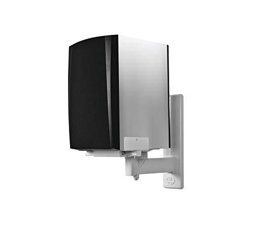 Coppia di supporti staffe da / a muro / parete in acciaio per casse stereo audio e diffusori acustici colore bianco