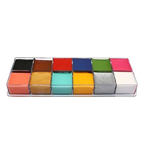 Minkissy Palette di 12 colori speciali per il trucco di viso e corpo, ideale per make-up creativi per performance, spettacoli, feste e Halloween (confezione in lingua italiana non garantita)