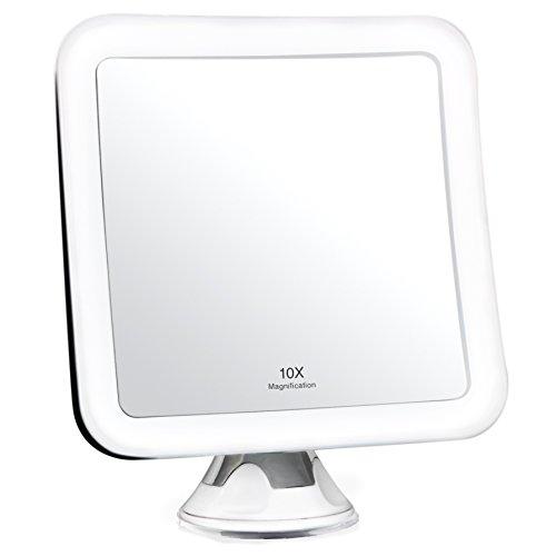 Fancii 10x Specchio ingranditore per Trucco con Luce LED e Ventosa Potente - Specchio cosmetico da Viaggio Illuminato - Specchio da Bagno Portatile, Mira (10X)