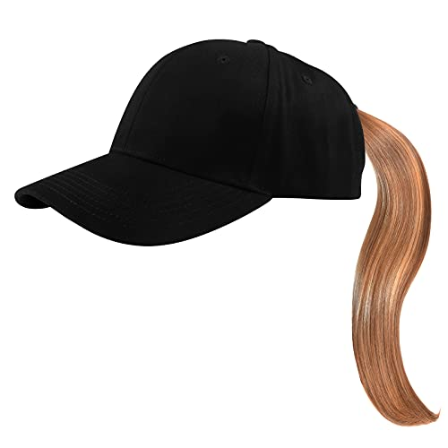 KELOYI Cappello Baseball Donna Regolabile Berretto Coda di Cavallo da Cappellino Uomo Visiera Sport all'Aria Nero