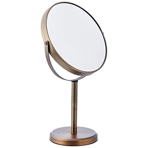 Amazon Basics - Specchio cosmetico bifacciale con sostegno a piantana, Bronzo