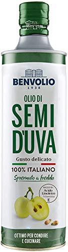 BENVOLIO 1938 Olio di Semi D'UVA Spremuto a Freddo - 750ml - da Vinacciolo 100% ITALIANO Olio di Vinacciolo Alimentare Ricco di Vitamina E Olio Massaggio Idratante Grapeseed Oil