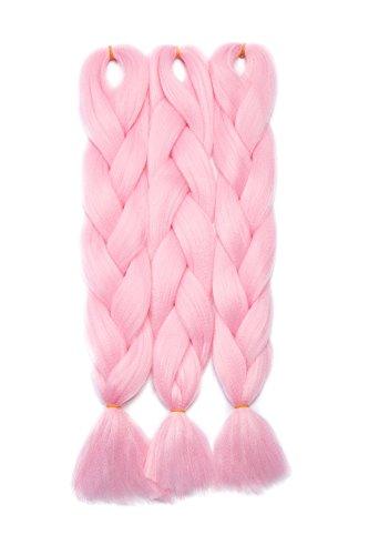 Extension clip capelli veri Hair Extensions Braiding Hair Jumbo Braids Ombre Pezzo di Capelli 3 Piece/ 300g - Rosa chiaro