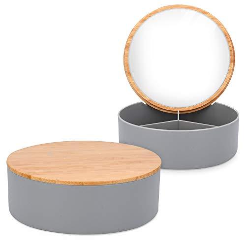 Navaris Specchietto Portagioie Portatrucco da Viaggio Ø14x5cm - Cofanetto Porta Gioie 3X Scomparti - Mini Beauty Case Portatrucchi con Specchio Donna