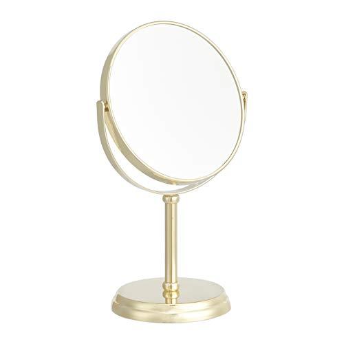 Amazon Basics - Specchio cosmetico, ingrandimento 1x/5x, oro