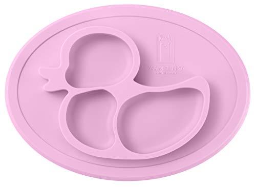 Piatto per bambini senza BPA e antiscivolo 27x20x20x3cm - Piatto per alimenti sicuro e testato - Progettato in Germania – piatti bambini piatto ventosa bambini a ventosa piatto YAMBINO (Rosa)