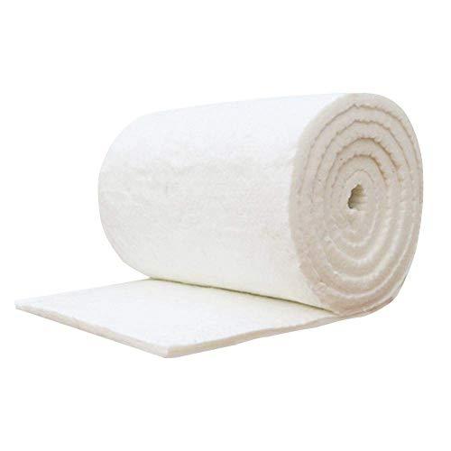 Materassino in fibra ceramica e cotone per stufe a legna, a bioetanolo e camino, ignifugo, 60 x 10 cm, colore: bianco