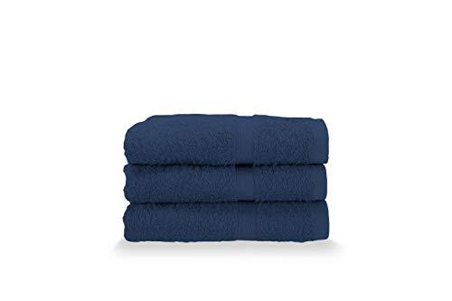 Gabel Asciugamani Ospite, Spugna di Puro Cotone Idrofilo, 40 x 60 cm, Blu, Set da 3 Pezzi