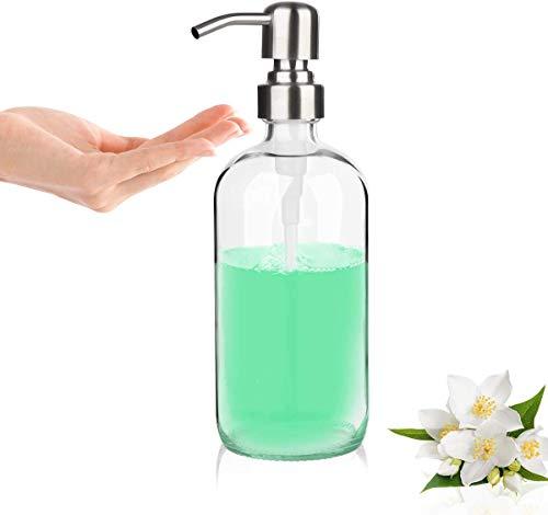 GLUBEE Sapone Dispenser - Bagno Clear Vetro con Pompa in Acciaio Inossidabile per Bagno Cucina Casa per Oli Essenziali, Saponi Liquidi, Acqua Igienizzante (500ml)