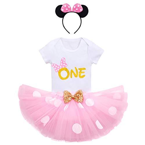 FYMNSI - Set di abbigliamento da bambina, per primo compleanno, a maniche corte, pagliaccetto + gonna a pois in tulle + fascia per capelli, 3 pezzi Rosa One 1 Anni