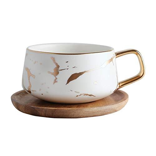 Negozio Esclusivo Quotidiano per la casa 1 Set Marble Matte Gold Gold Series Tazza di tè in Ceramica Tazza da caffè con Coperchio in Legno o Vassoio (Porcellana) (Color : White with Tray)