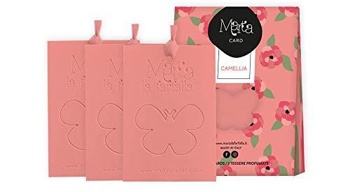 Marta La Farfalla Tessere profumate appendibili per armadi e cassetti Kit da 3pz profumazione Camelia Flower