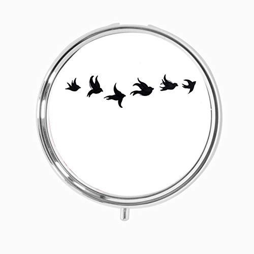 Fantastico portapillole nero con sei uccellini volanti per tatuaggi, organizer per pillole con 3 componenti in metallo portatile per borsa, tasca, esigenze quotidiane e viaggi