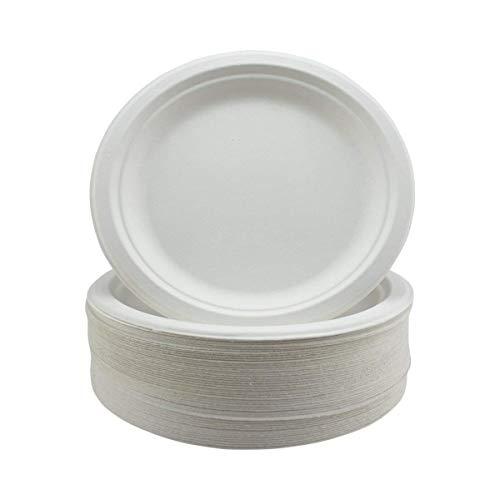 Piatti usa e getta in bagassa - 25,4 cm - Piatti piatti rigidi e resistenti usa e getta in polpa di canna da zucchero in fibra naturale - Set di stoviglie bianche biodegradabili - Confezione da 50