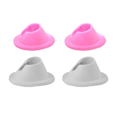 Minkissy 4Pcs Portabottiglie per Smalto Portabottiglie in Gomma Morbida Porta Smalto per Unghie Smalto per Unghie Smalto per Unghie per Salone Uso Domestico (Rosa Bianco)