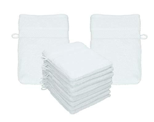 Betz Paquete de 10 manoplas de baño Palermo 100% Algodón Tamaño 16x21 cm (Blanco)