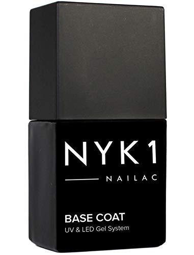NYK1 Nailac Base Semipermanente per Unghie - Base Professionale per Unghie Compatibile con LED e UV - Base Coat per Gel Shellac (Gommalacca) Soak Off - 10ml