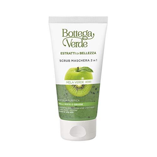 Bottega Verde, Estratti di bellezza - Scrub - Maschera 2 in 1 purificante rinfrescante - Mela verde e Kiwi - esfolia leviga rinfresca - pelli miste o grasse (75 ml)