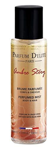 Parfum D'Elite Paris - Ambre Story - Spray profumato corpo e capelli, per donna, arricchito con aloe vera, lunga tenuta, 100 ml