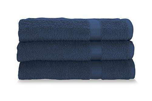 Gabel Asciugamani Viso, Spugna di Puro Cotone Idrofilo, 60 x 100 cm, Blu, Set da 3 Pezzi