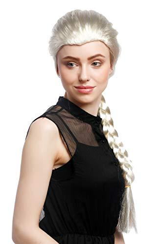 WIG ME UP - XR-009-P613 Parrucca Donna Carnevale Cosplay Biondo Biondo Chiaro Lunga Treccia Principessa Circa 70 cm