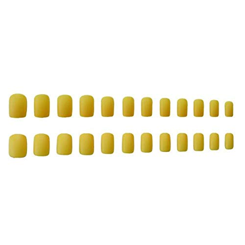Commerci all'ingrosso 24 pezzi/set unghie finte con smalto giallo opaco colore solido unghie lunghe lunghe punte artificiali quadrate copertura completa