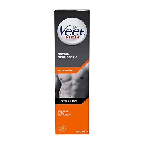 Veet Men, Crema Depilatoria Uomo, Pelli Normali, 200 ml, L'imballagio può variare