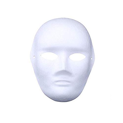 meioro DIY White Paper Mask Pulp Vuoto Dipinto a Mano Maschera personalità Creativa Design Libero Maschera (5 Pezzi,Uomini)