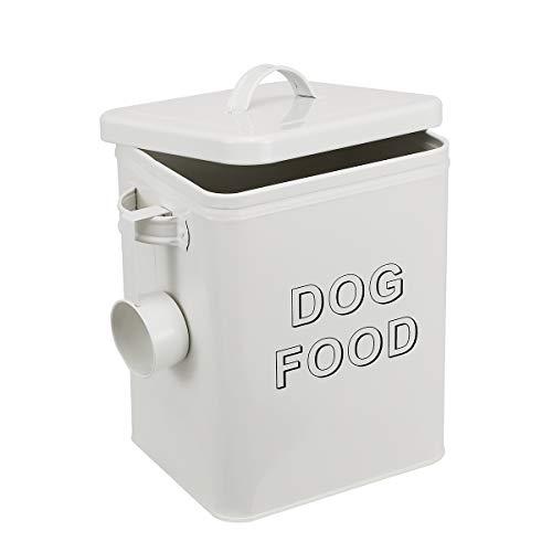 Morezi - Contenitore per alimenti e dolcetti per cani, con coperchio e paletta inclusi, in polvere color crema, in acciaio al carbonio rivestito, coperchi aderenti, contenitori per alimenti per cani