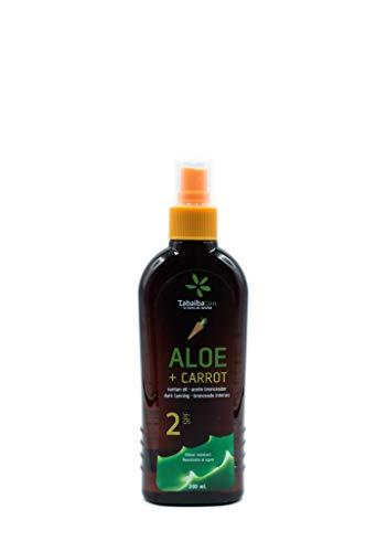 Aloe Vera e olio abbronzante alla carota 2 SFP 200 ml impermeabile TabaibaSun
