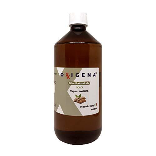 Oxxigena - Olio di Mandorle Dolci Naturale e Puro al 100%, Confezione da 1 lt, Estratto a Freddo, Ideale per Massaggi Corpo, come Idratante e Struccante per la Pelle Secca e per i Capelli Crespi
