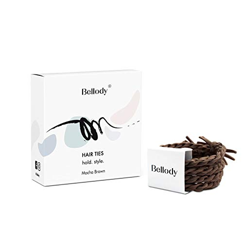 Bellody® Original elastici per capelli- Eleganti elastici intrecciati a tenuta sicura (4 pezzi - Mocha Brown)